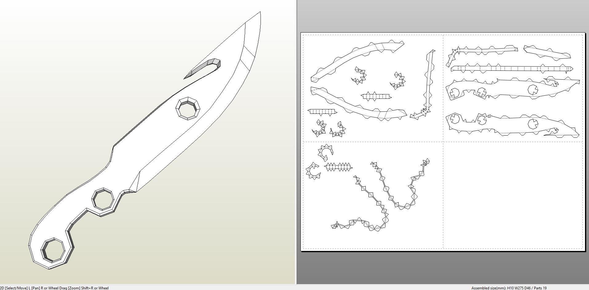 Destiny Hunter Armor Template Papercraft Pdo File Template for Destiny Hunter Knife