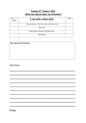 Diary Entry Template Word Diary Template by Vt216 Teaching Resources Tes
