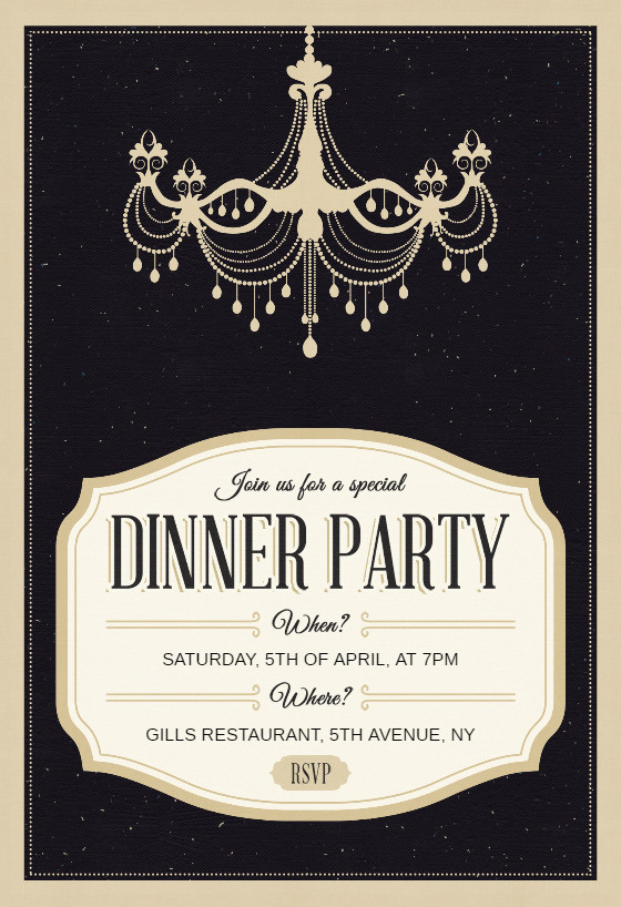 Classy Chandelier Dinner Party Invitation Template Free