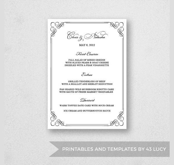 25 Dinner Party Menus PSD AI Word
