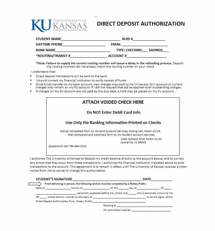 Direct Deposit Authorization form Template 47 Direct Deposit Authorization form Templates Template