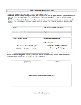 Direct Deposit Authorization form Template Direct Deposit Authorization Template