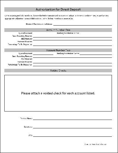 Direct Deposit Authorization form Template Free Basic Authorization for Direct Deposit From formville