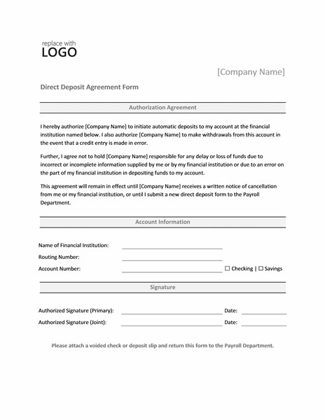 Direct Deposit Authorization form Template Payrolls Fice