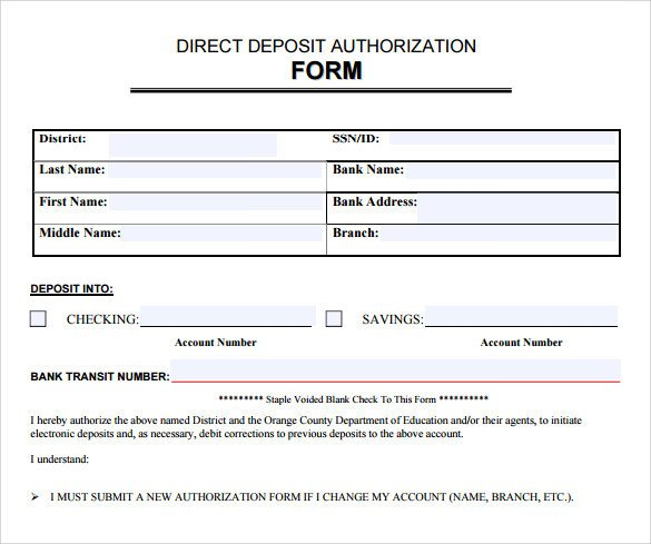 Direct Deposit Authorization form Template Sample Direct Deposit Authorization form 7 Download
