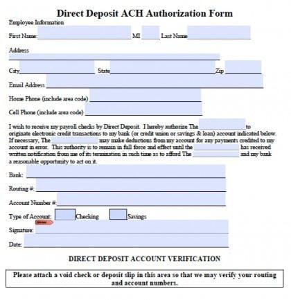 Direct Deposit form Template Word 5 Generic Direct Deposit form Templates formats