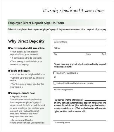 Direct Deposit form Template Word Direct Deposit form Template 9 Free Pdf Documents