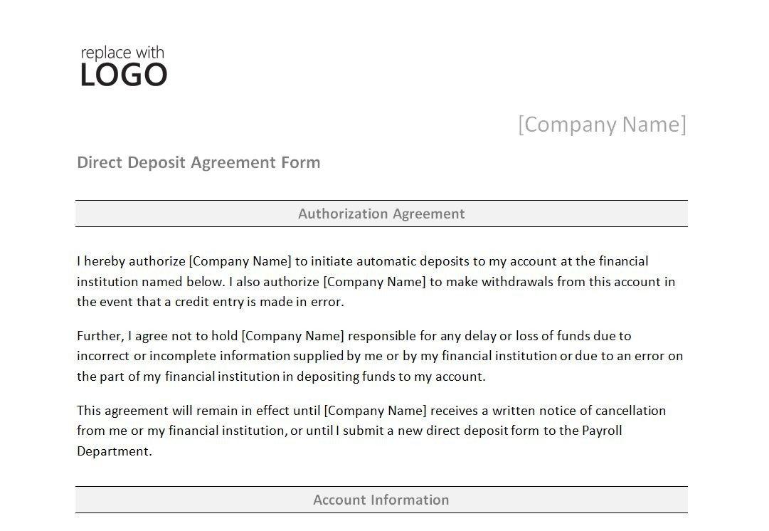 Direct Deposit form Template Word Direct Deposit form Template