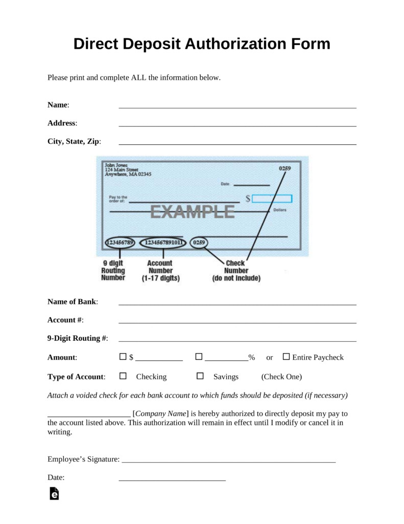 Direct Deposit form Template Word Free Direct Deposit Authorization forms Pdf