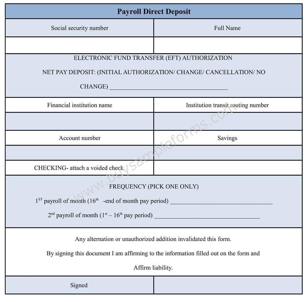 Direct Deposit form Template Word Payroll Direct Deposit form
