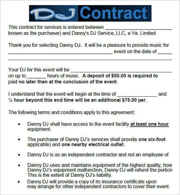 Disc Jockey Contracts Template 16 Dj Contract Templates Pdf Word Google Docs Apple