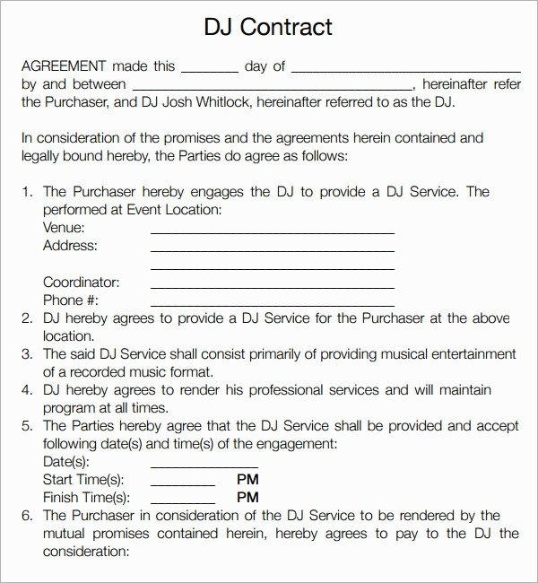 Disc Jockey Contracts Template Disc Jockey Contracts Template 15 Ways How to Prepare