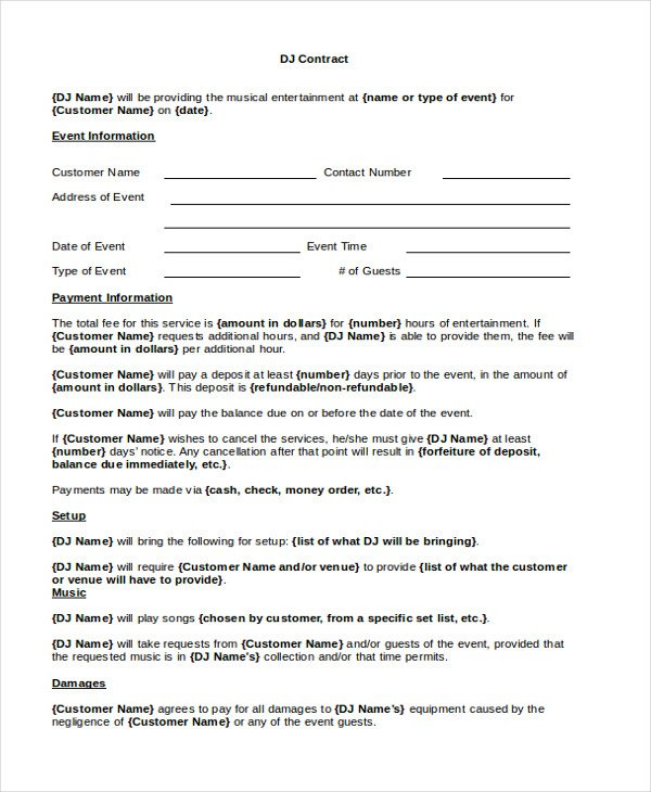 Disc Jockey Contracts Template Disc Jockey Contracts Template