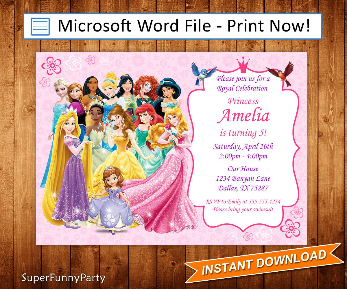 Disney Princess Invitation Template Disney Princess Invitation Disney Princess Birthday Invite