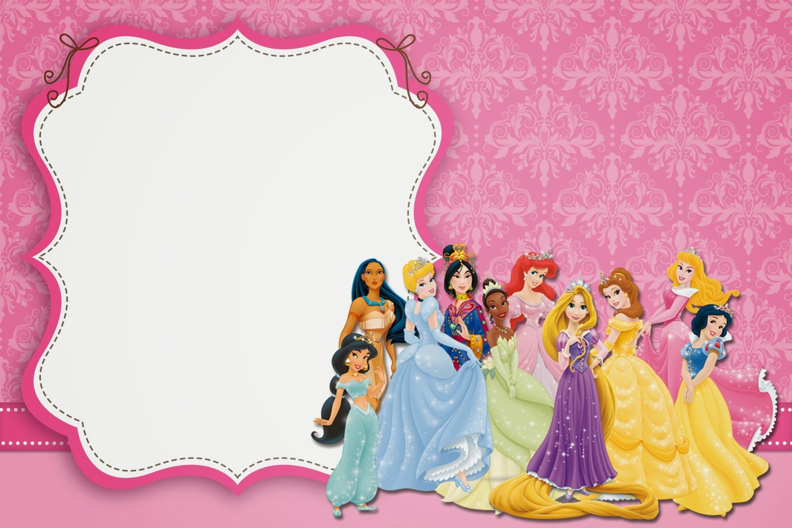 Disney Princess Invitation Template Disney Princess Party Free Printable Party Invitations