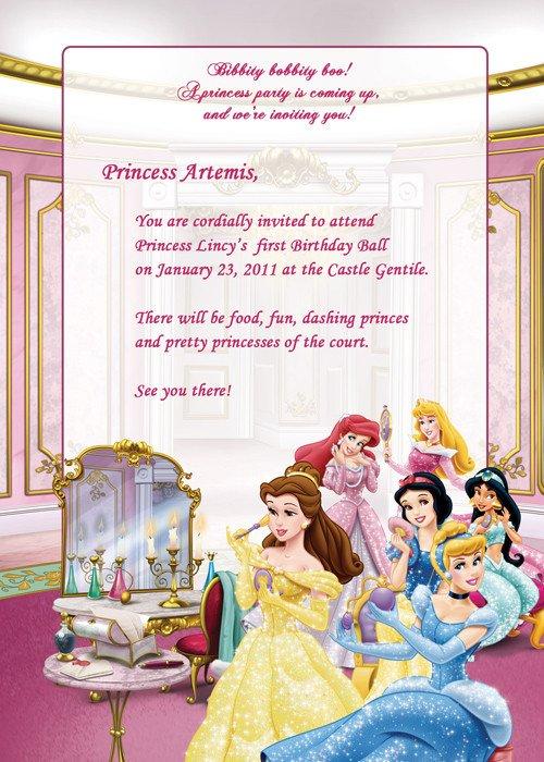 Disney Princess Invitation Template Disney Princesses Birthday Party Invitation – Free