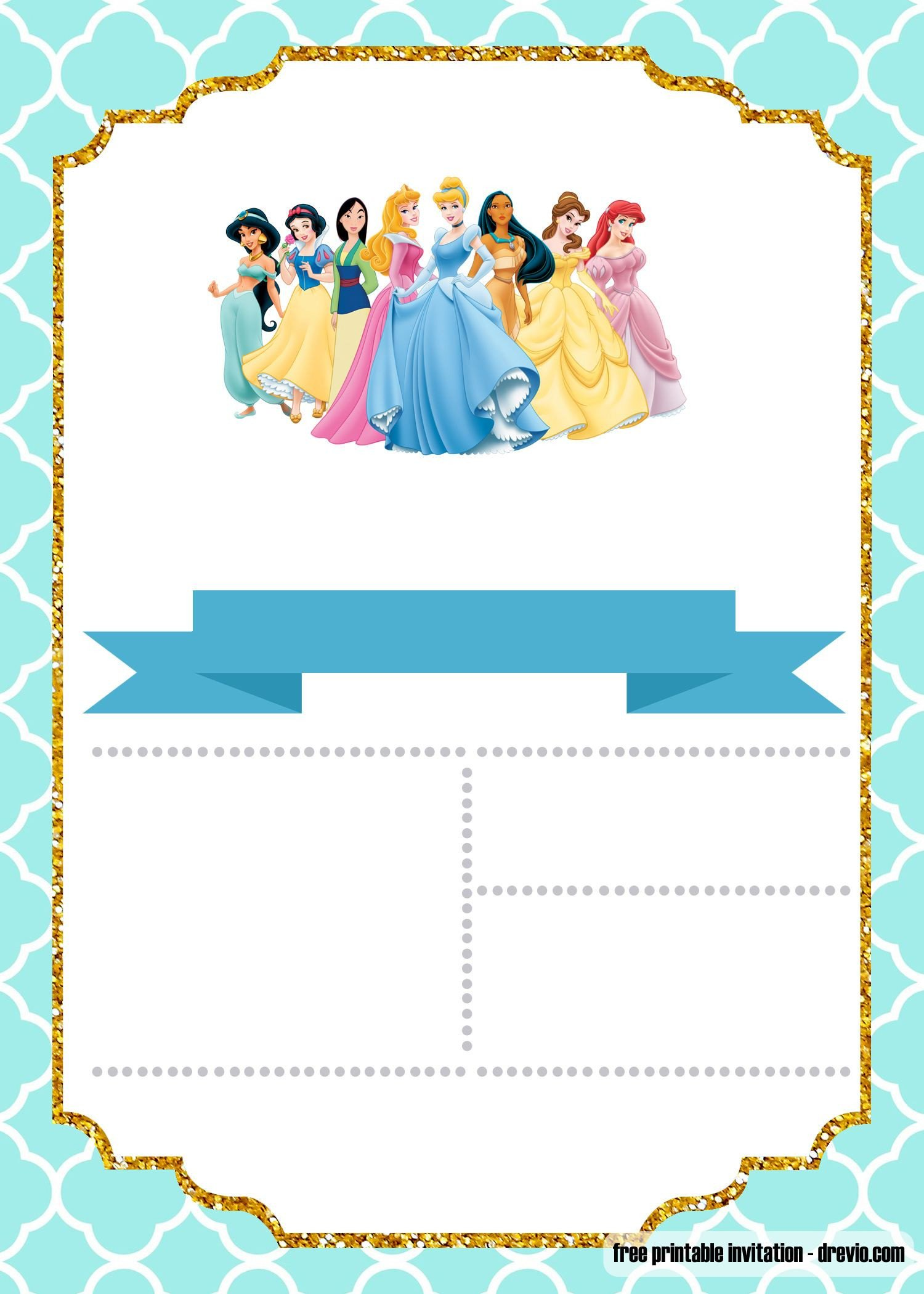 Disney Princess Invitation Template Free Disney Princess Invitation Template for Your Little