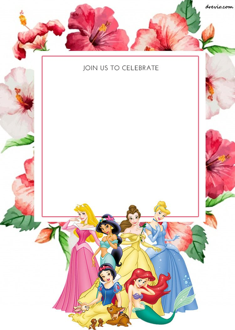 Disney Princess Invitation Template Free Printable Disney Princess Floral Invitation Template