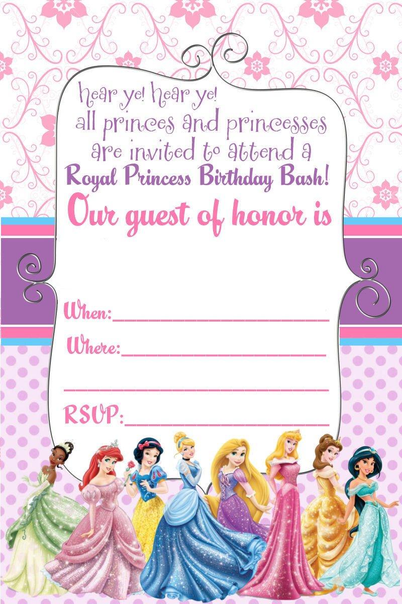 Disney Princess Invitation Template Free Printable Disney Princess Ticket Invitation Template