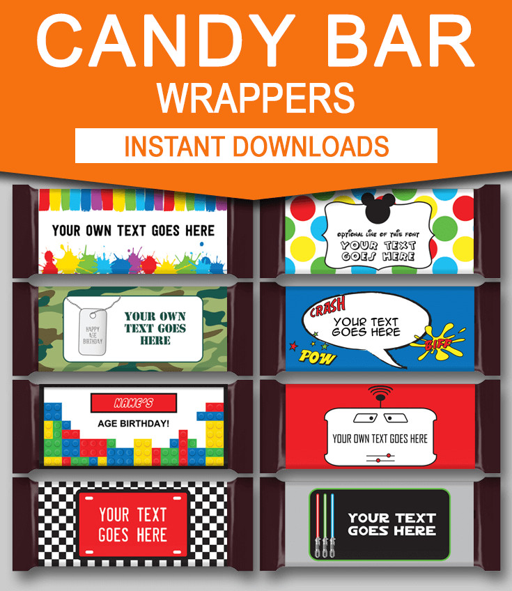 DIY Candy Bar Wrapper Templates Party Favors