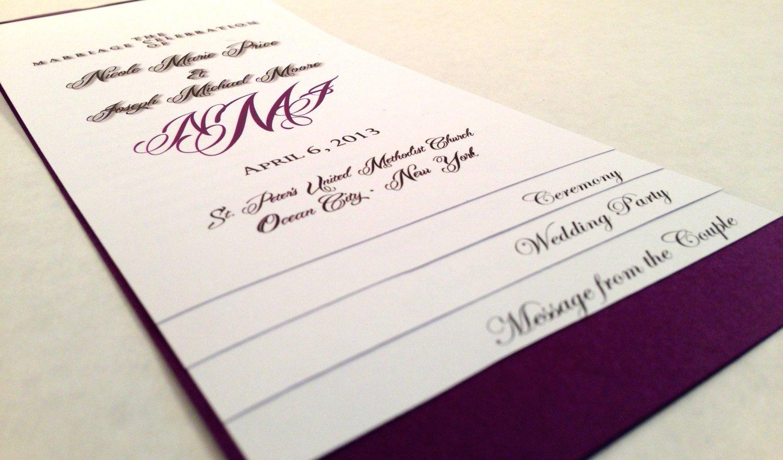 Diy Wedding Program Template Diy 5 Page Layered Wedding Program Template Monogram
