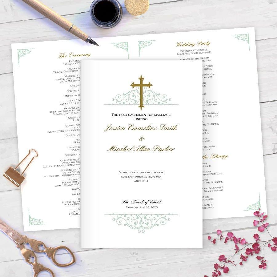 Diy Wedding Program Template Diy Catholic Wedding Programs Catholic Program Templates Ms
