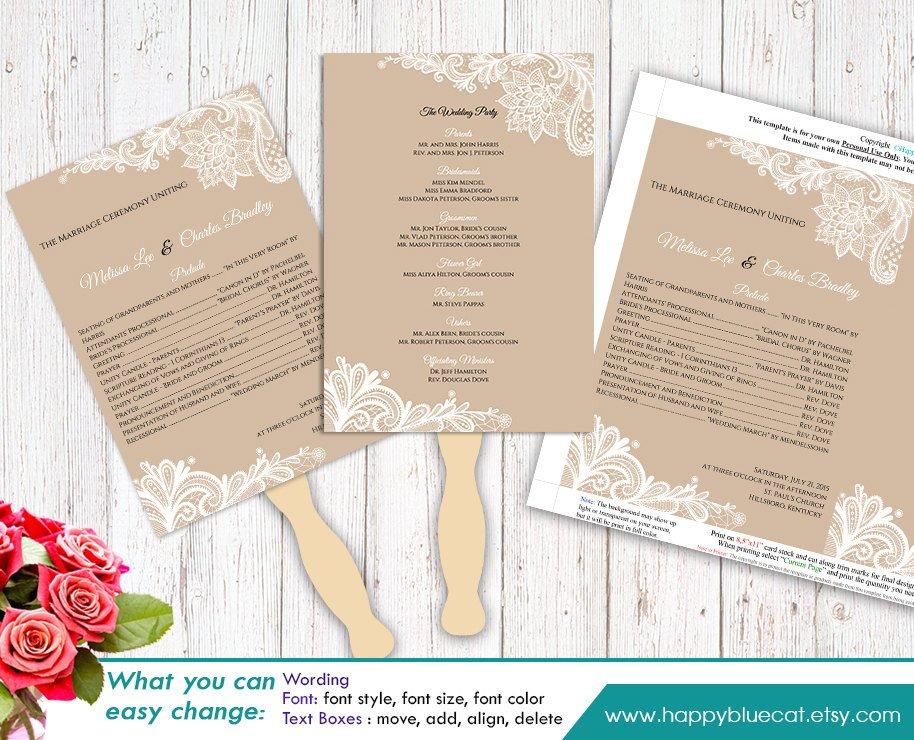 Diy Wedding Program Template Diy Printable Wedding Fan Program Template Instant Download
