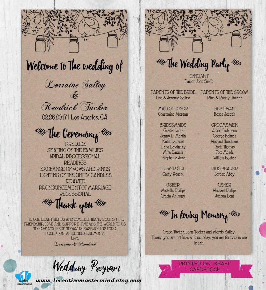 Diy Wedding Program Template Diy Rustic Wedding Program Template Printable Editable