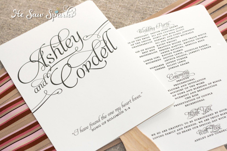 Diy Wedding Program Template Matching Paddle Fan Program Diy Printable