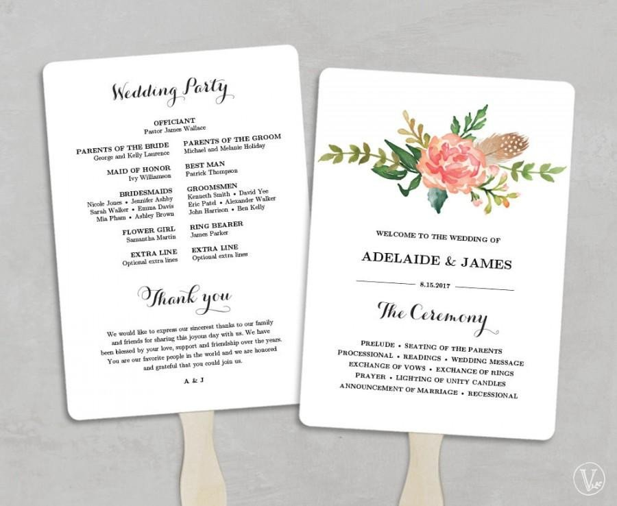 Diy Wedding Program Template Printable Wedding Program Template Fan Wedding Programs