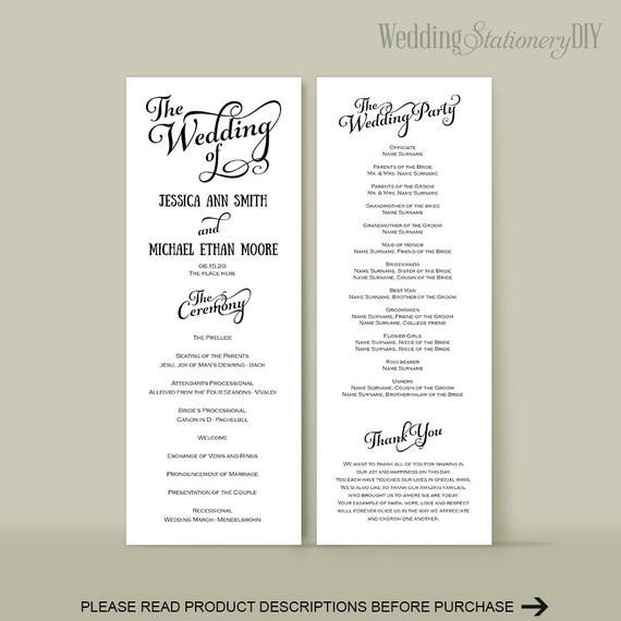 Diy Wedding Program Template Wedding Program Diy Wedding Program Templates Reception