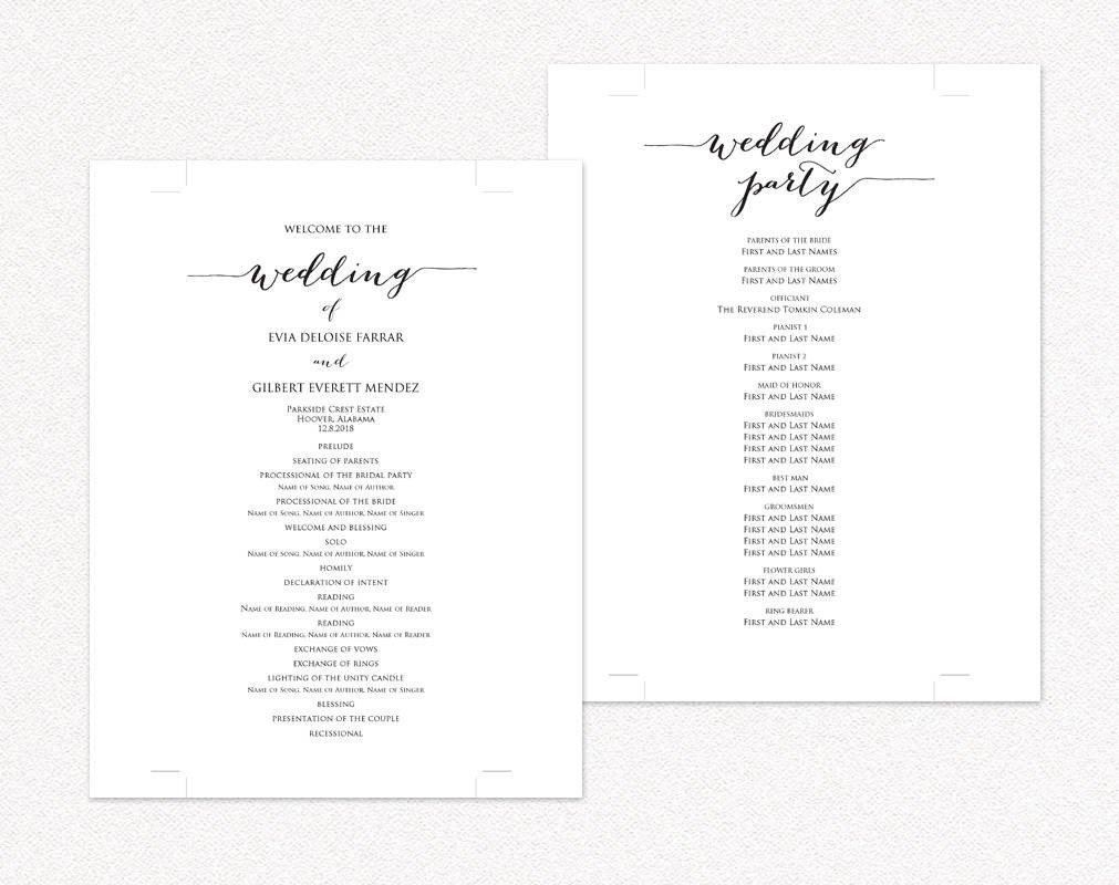 Diy Wedding Program Template Wedding Programs · Wedding Templates and Printables