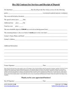 Dj Contract Template Pdf Free and Printable Disc Jockey Contract form Rc123