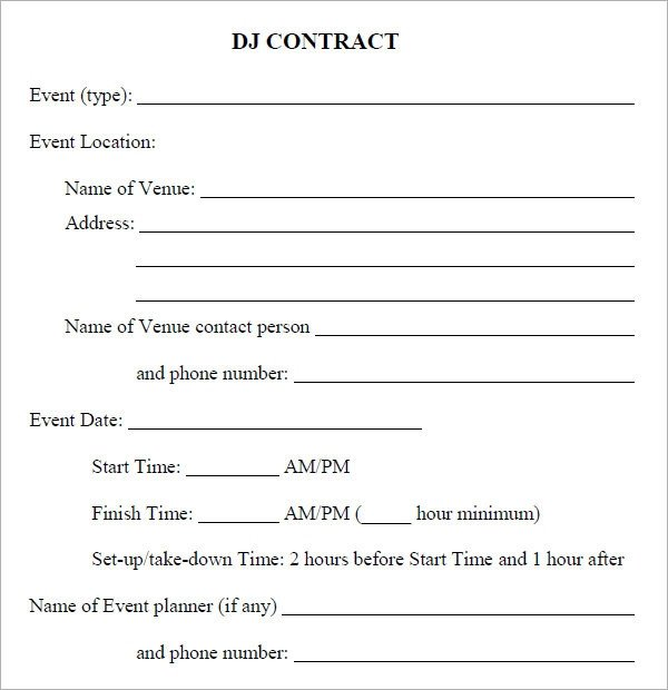 DJ Contract 20 Download Documents in PDF Google Docs