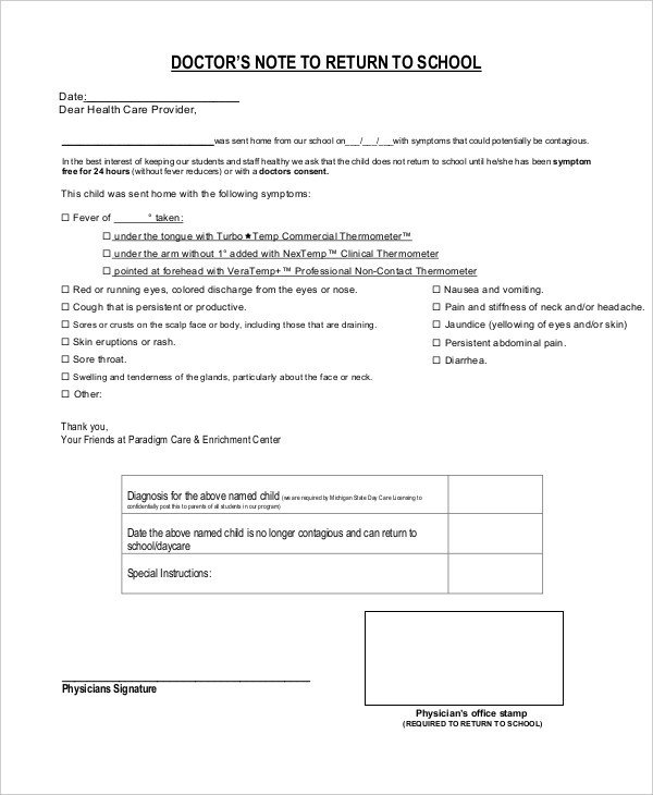 Doctors Note for School Template Doctors Note Template for School 6 Free Word Pdf