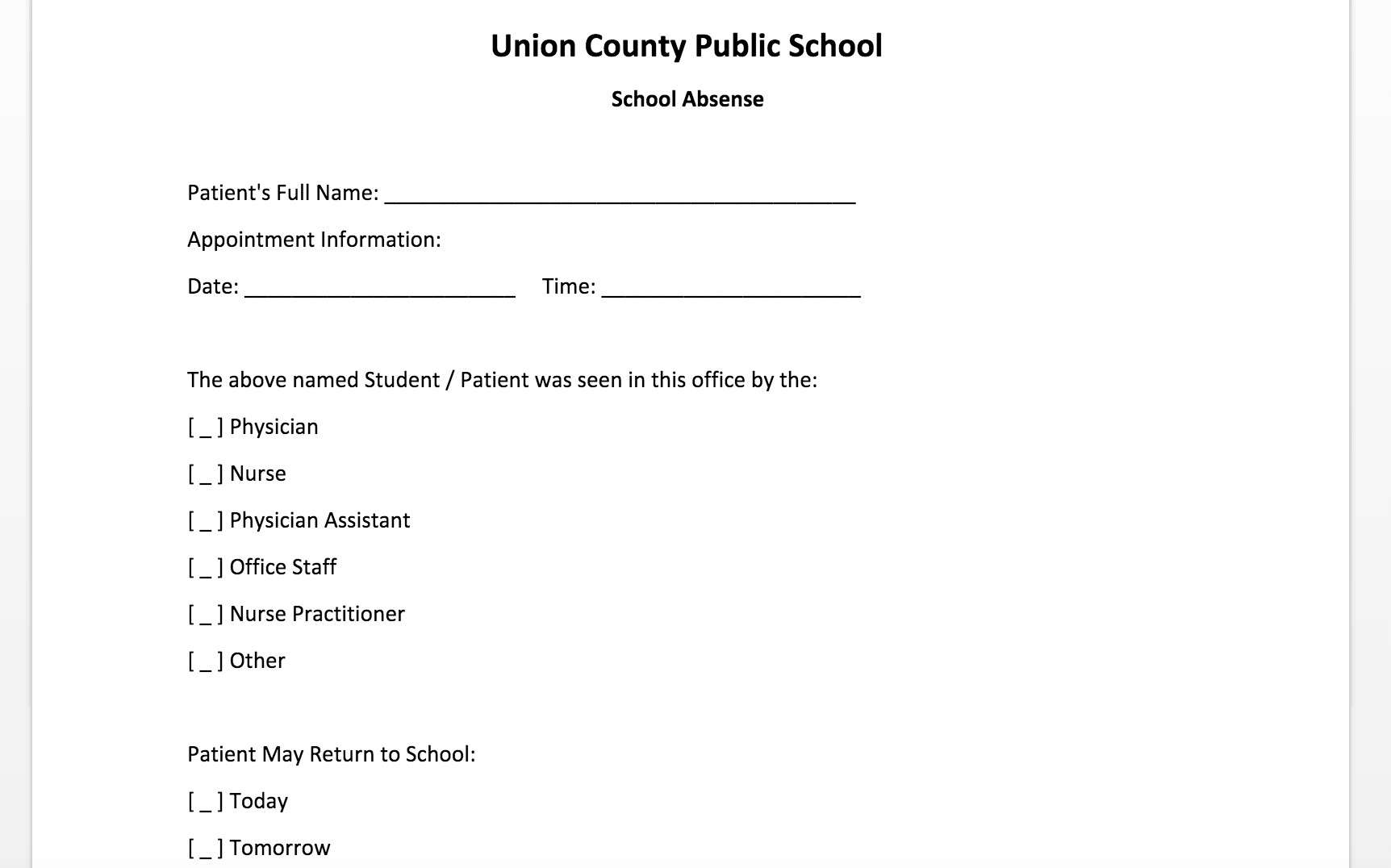 Doctors Note for School Template Free Doctor Note Template for Word