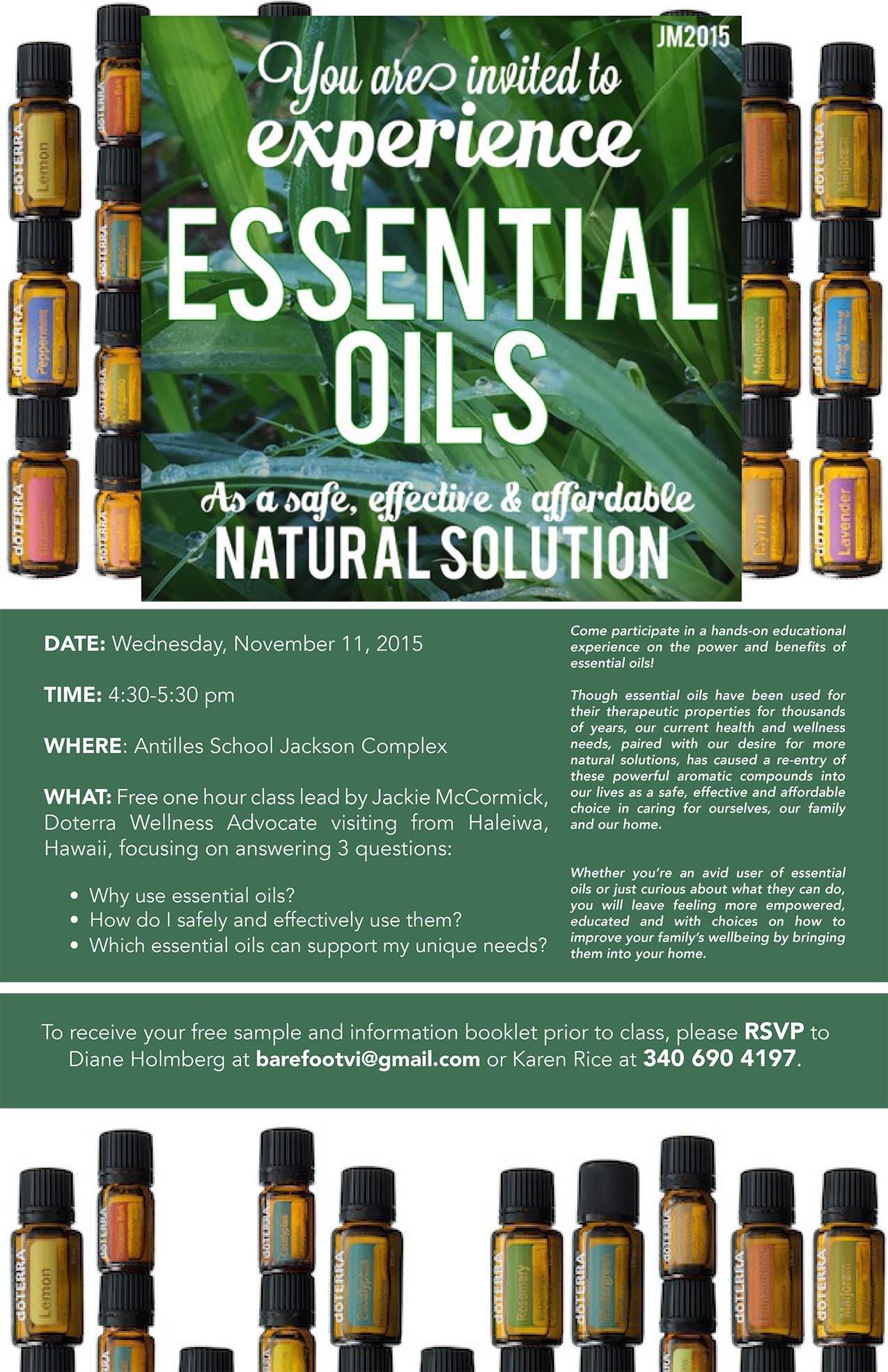 Doterra Class Flyer Template Free Essential Oils Class