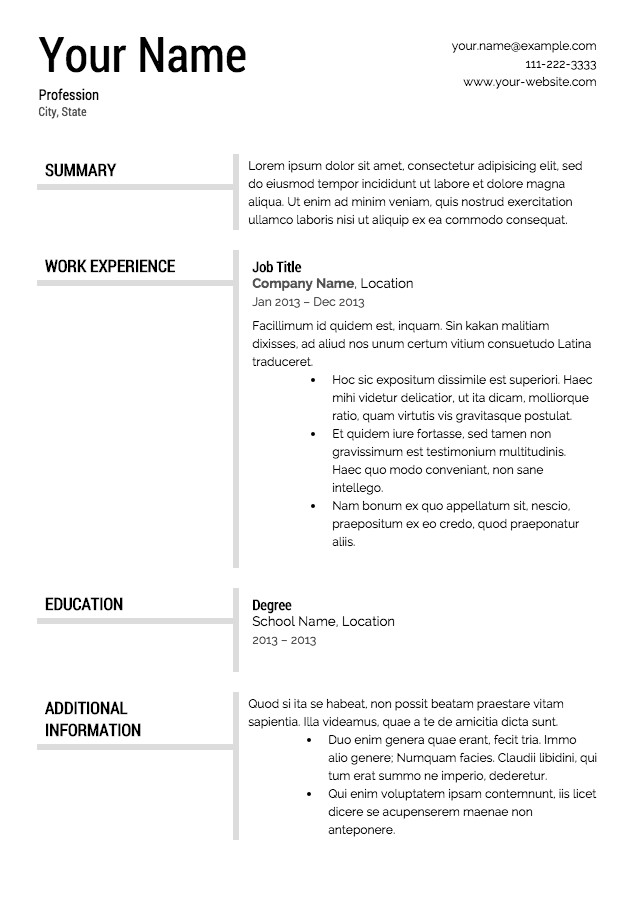 Downloadable Free Resume Templates Free Resume Templates