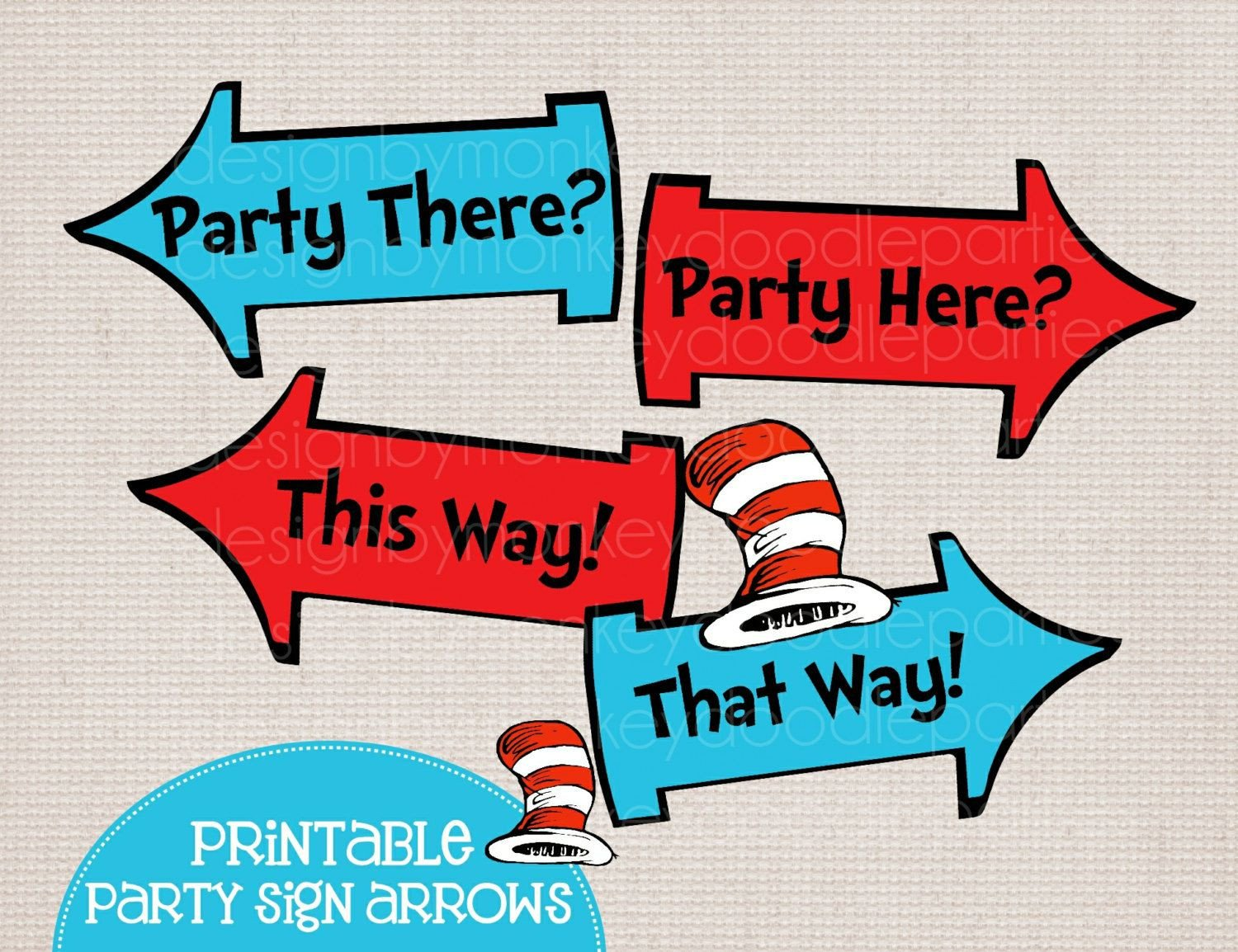 Adorable Dr Seuss Cat in the Hat Inspired Printable Party