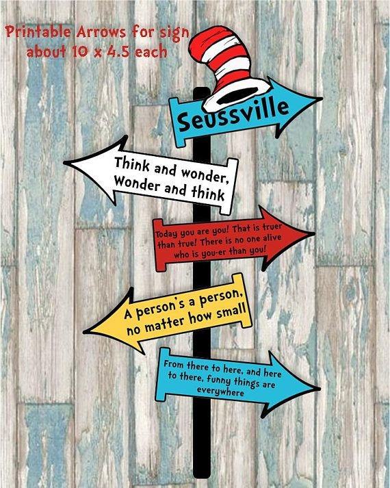 Dr Seuss Arrows Free Printables Dr Seuss Arrow Signs Printable Decorations Dr Seuss