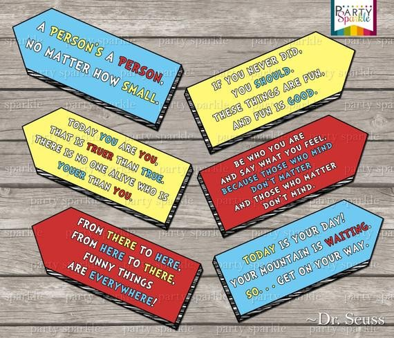 Dr Seuss Arrows Free Printables Instant Download Dr Seuss Quote Arrow Signs Digital