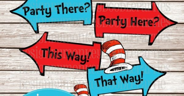 Dr Seuss Arrows Free Printables Whimsical Blue and Red Rhyming Printable Party Arrow Signs