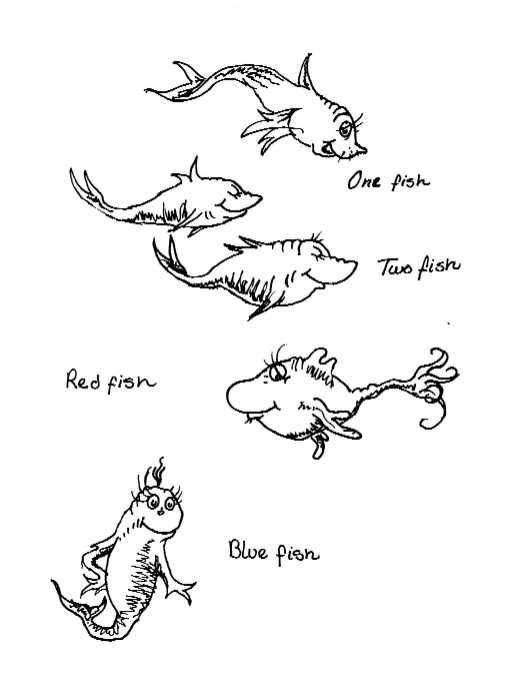 Dr Seuss Fish Template Black and White Outline