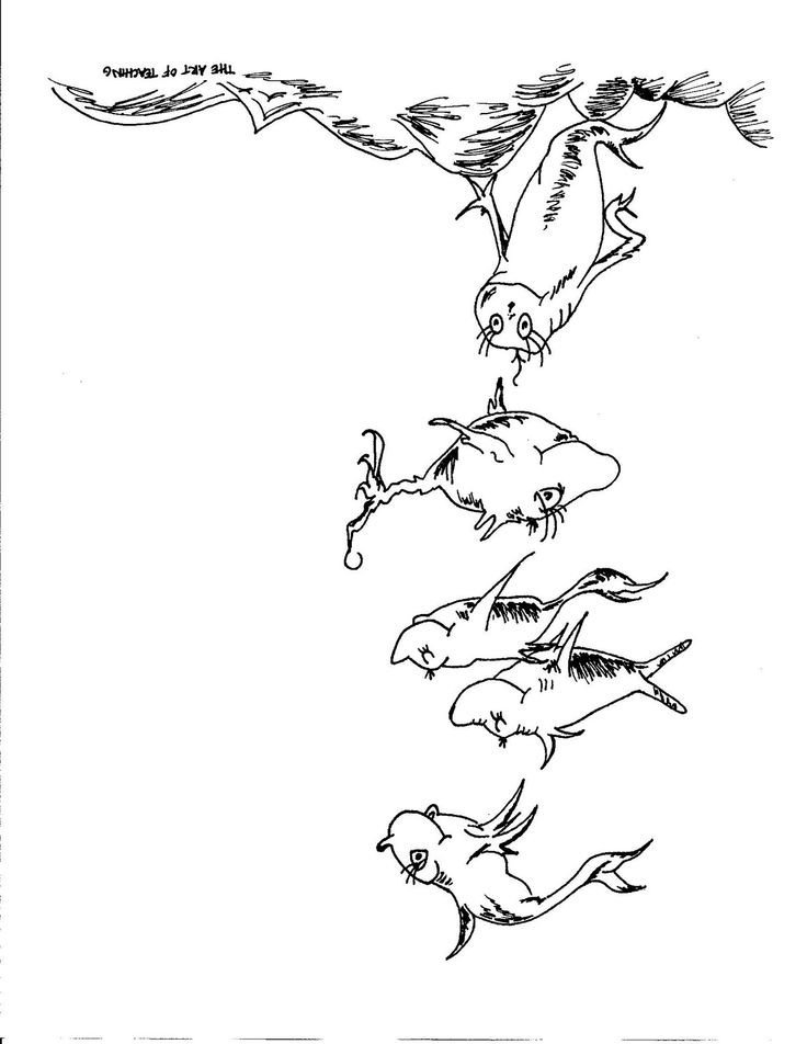 Dr Seuss Fish Template One Fish Two Fish Coloring Page