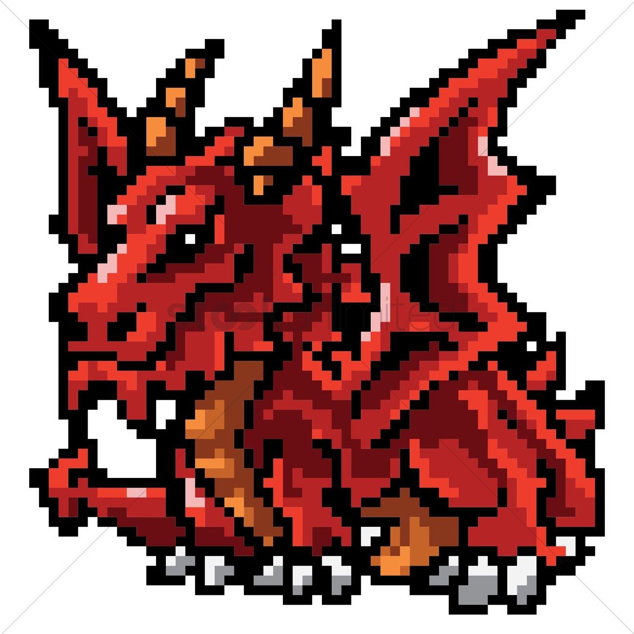 Dragon Pixel Art Grid Pixel Art Mythical Dragon Vector Image