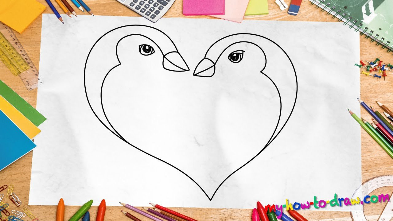 Drawing Pictures Of Love How to Draw A Penguin Love Heart Easy Step by Step