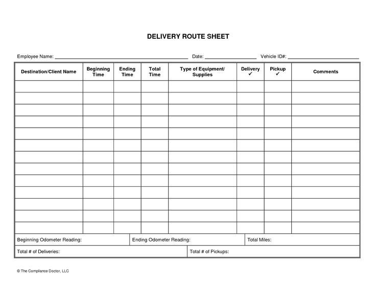Driver Manifest Template Driver Daily Log Sheet Template