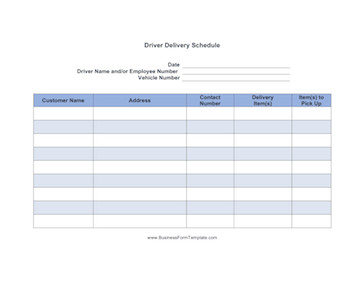Driver Manifest Template Driver Delivery Schedule Template