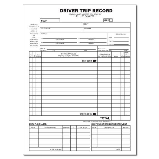 Driver Manifest Template Truck Driver Trip Envelope Custom Printing