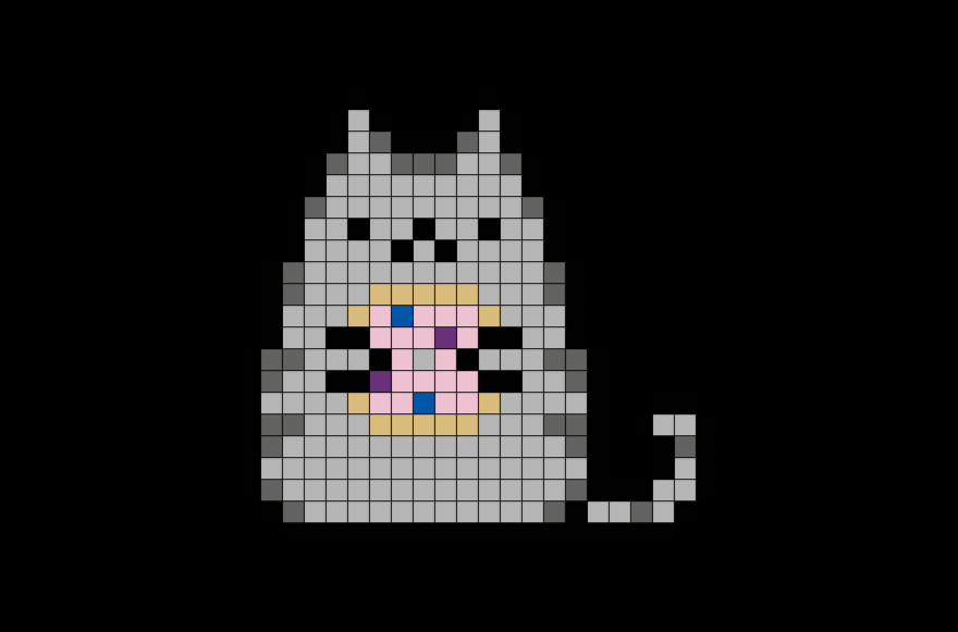 Pusheen with Donut Pixel Art – BRIK